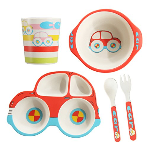 5 Piece Bamboo Dinnerware for Kids, Toddler, Car Plate and Bowl Set