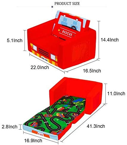 MallBest 2-in-1 Flip Kids Sofa Bed (Red/Fire Truck)