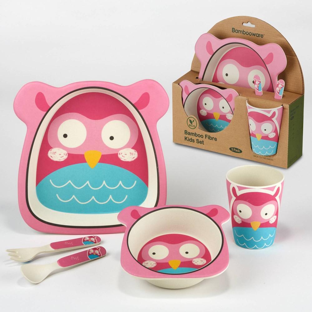 5pc Bamboo Kids Dinnerware Set – Certified International (Owl)