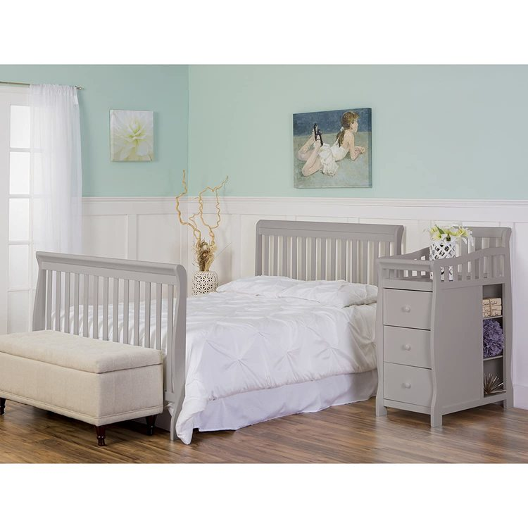 Dream On Me Brody 5-in-1 Convertible Crib with Changer, Pebble Grey
