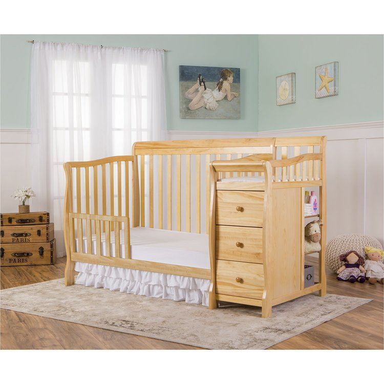 Dream On Me Brody 5-in-1 Convertible Crib with Changer, Natural
