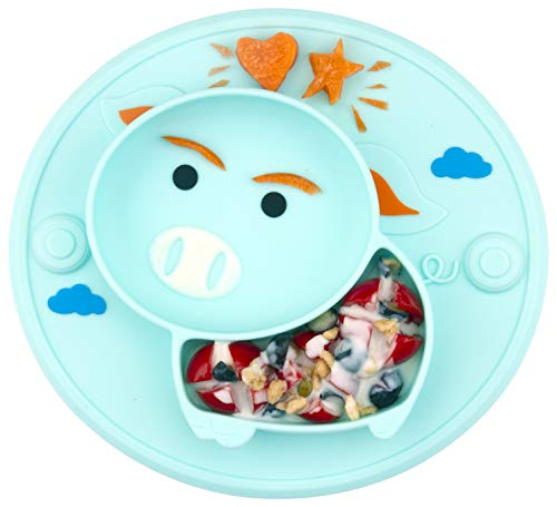 Baby Divided Plate Silicone- Portable Non Slip Child Feeding Plate with Suction Cup for Children Babies and Kids (Pig-Cyan)