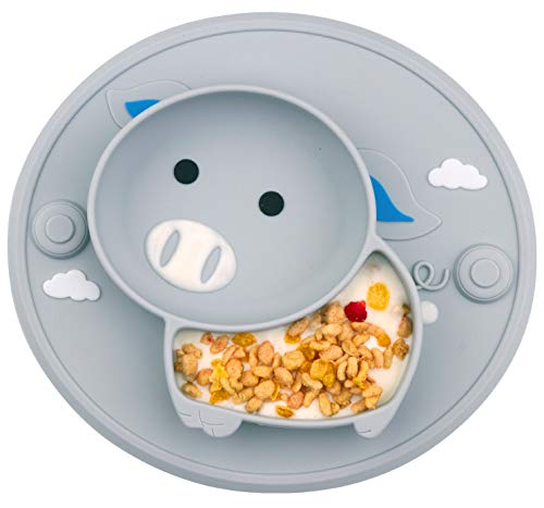 Baby Divided Plate Silicone- Portable Non Slip Child Feeding Plate with Suction Cup for Children Babies and Kids (Pig-Gray)