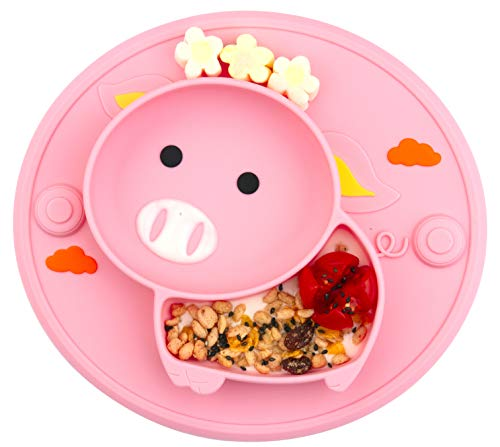 Baby Divided Plate Silicone- Portable Non Slip Child Feeding Plate with Suction Cup for Children Babies and Kids (Pig-Rose)