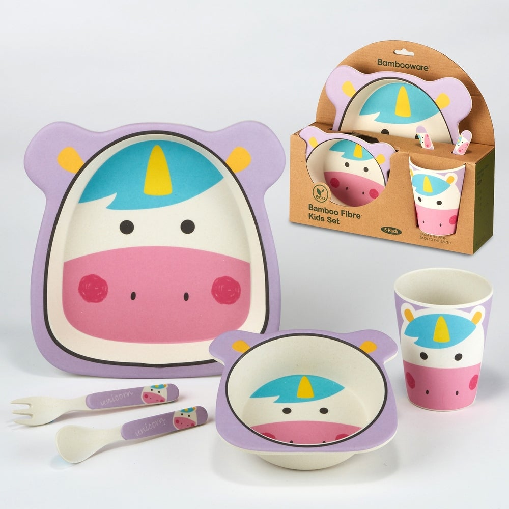 5pc Bamboo Kids Dinnerware Set – Certified International (Unicorn)