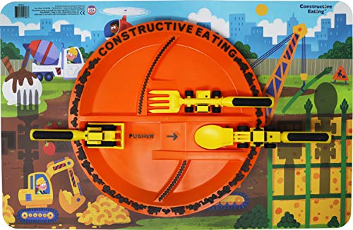 Constructive Eating Construction Combo with Set of 3 Utensils, Plate and Placemat for Toddlers, Infants, Babies and Kids