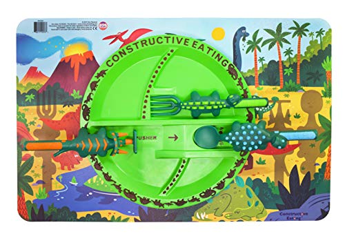 Constructive Eating Dinosaur Combo with Utensil Set, Plate, and Placemat for Toddlers, Infants, Babies and Kids