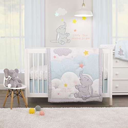 Disney Dumbo – Shine Bright Little Star Aqua, Grey, Yellow & Orange 3 Piece Nursery Crib Bedding Set