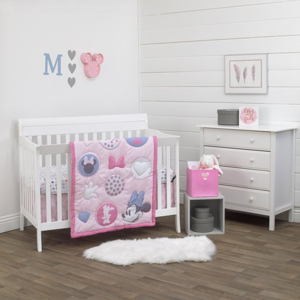 Disney Minnie Mouse Pretty in Pink 3 Piece Nursery Crib Bedding Set, Pink, Grey, Rose