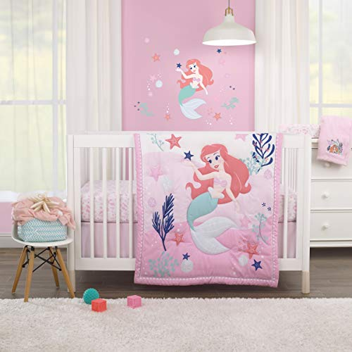 Disney The Little Mermaid Pink, Aqua, Coral Ariel Cute by Nature 3Piece Nursery Crib Bedding Set