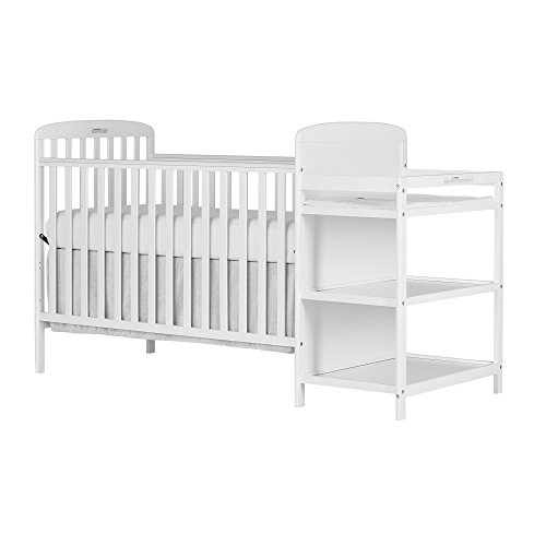 Dream On Me Anna 4-in-1 Full Size Crib and Changing Table Combo, White
