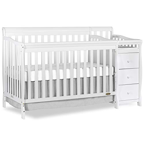 Dream On Me Brody 5-in-1 Convertible Crib with Changer, White