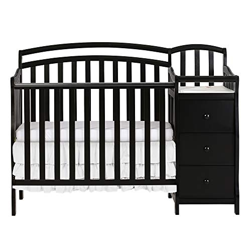 Dream On Me Casco 3 in 1 Mini Crib and Dressing Table Combo, Black