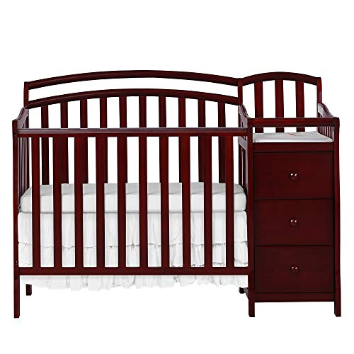 Dream On Me Casco 3 in 1 Mini Crib and Dressing Table Combo, Cherry