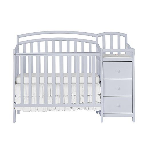Dream On Me Casco 4-in-1 Mini Crib and Dressing Table Combo, Pebble Grey
