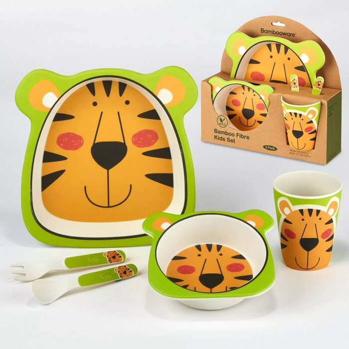 5pc Bamboo Kids Dinnerware Set – Certified International (Tiger)
