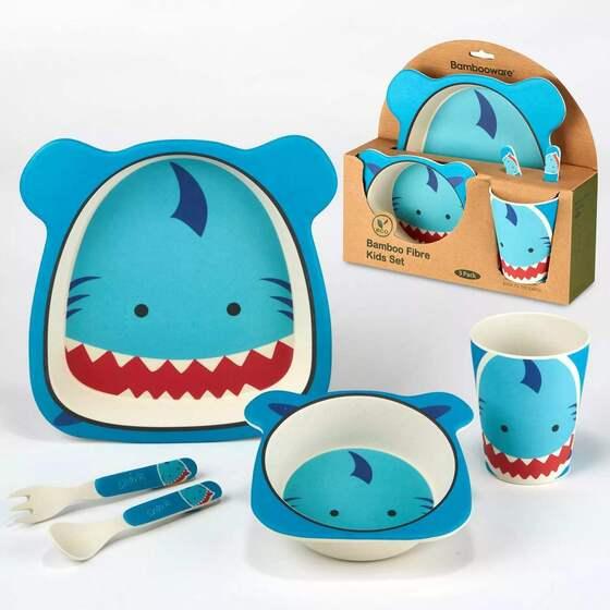 5pc Bamboo Kids Dinnerware Set – Certified International (Shark)