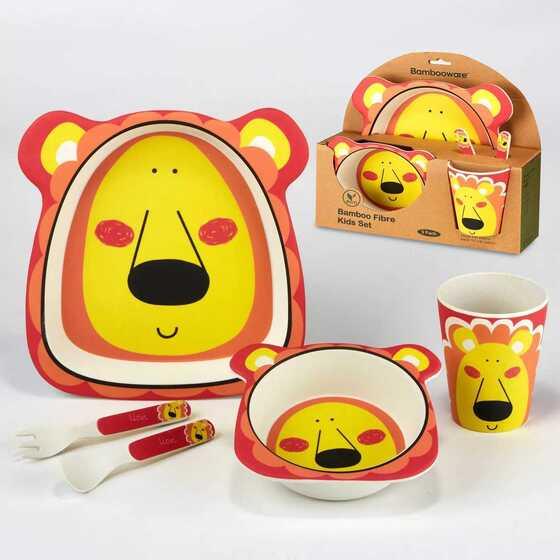 5pc Bamboo Kids Dinnerware Set – Certified International (Lion)