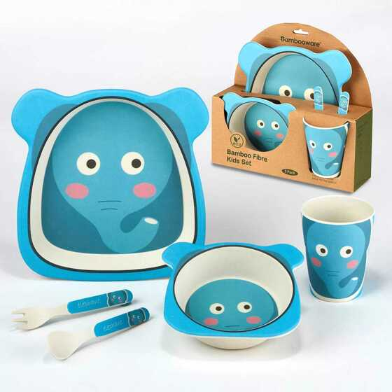 5pc Bamboo Kids Dinnerware Set – Certified International (Elephant)
