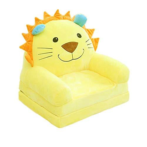 Fivtyily 2-in-1 Flip Open Cute Cartoon Shape Plush Kids Sofa Chair (Yellow)