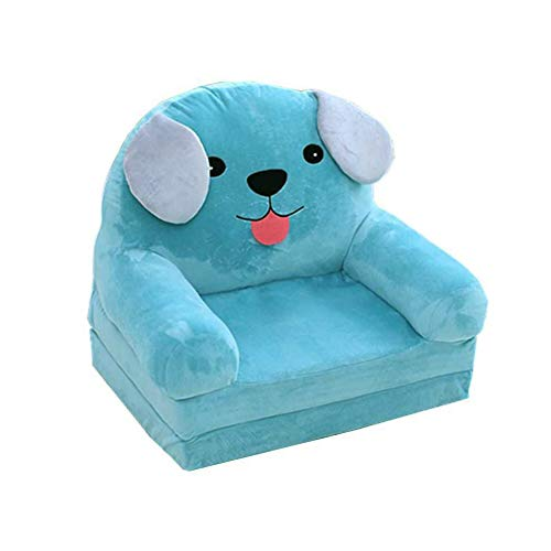 Fivtyily 2-in-1 Flip Open Cute Cartoon Shape Plush Kids Sofa Chair (Light Blue)
