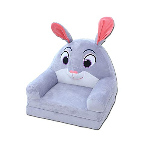 Fivtyily 2-in-1 Flip Open Cute Cartoon Shape Plush Kids Sofa Chair (Grey)