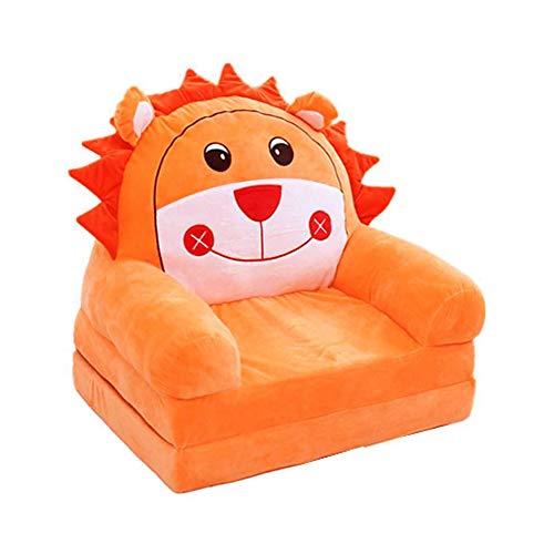 Fivtyily 2-in-1 Flip Open Cute Cartoon Shape Plush Kids Sofa Chair (Orange)