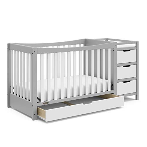 Graco Remi 4-in-1 Convertible Crib and Changer, Pebble Gray/White