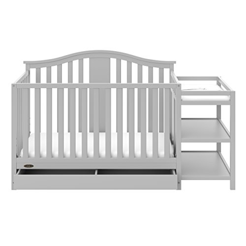 Graco Solano 4-in-1 Convertible Crib and Changer with Drawer, Pebble Grey