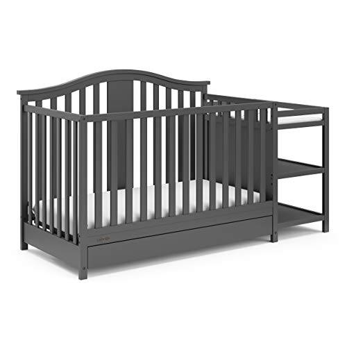 Graco Solano 4-in-1 Convertible Crib and Changer with Drawer, Grey