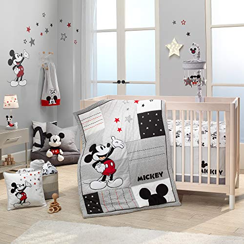 Lambs & Ivy Disney Baby Magical Mickey Mouse 3-Piece Crib Bedding Set – Gray