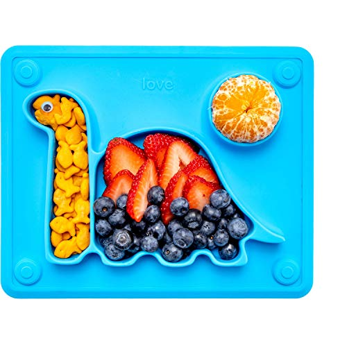 Lilly's Love The Happy Good Dino Suction Plate for Toddlers (Blue)