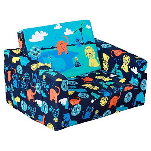 MallBest 2-in-1 Flip Kids Sofa Bed (Blue/Jungle)
