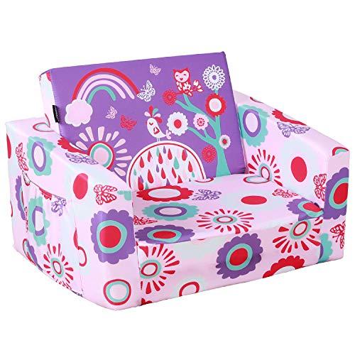 MallBest 2-in-1 Flip Kids Sofa Bed (Pink/Flowers)