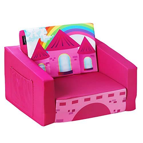 MallBest 2-in-1 Flip Kids Sofa Bed (Rose Red/Castle)