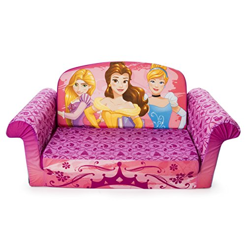 Marshmallow Furniture Kids 2-in-1 Flip Open Couch Bed Sleeper Sofa, Disney Princesses