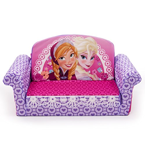 Marshmallow Furniture Kids 2-in-1 Flip Open Couch Bed Sleeper Sofa, Disney Frozen (Pink)
