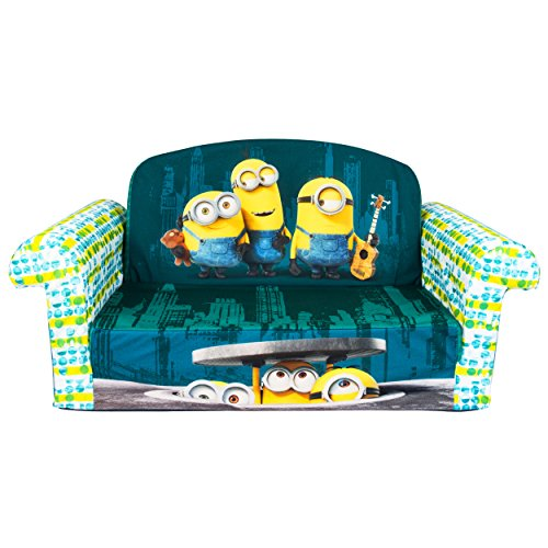 Marshmallow Furniture Kids 2-in-1 Flip Open Couch Bed Sleeper Sofa, Despicable Me Minions
