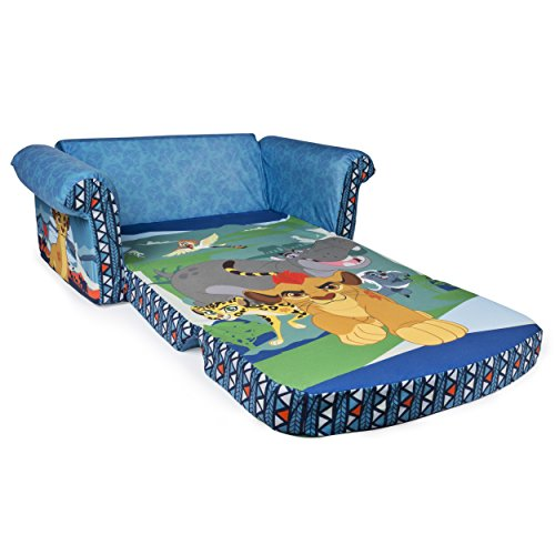 Marshmallow Furniture Kids 2-in-1 Flip Open Couch Bed Sleeper Sofa, Disney Junior The Lion Guard
