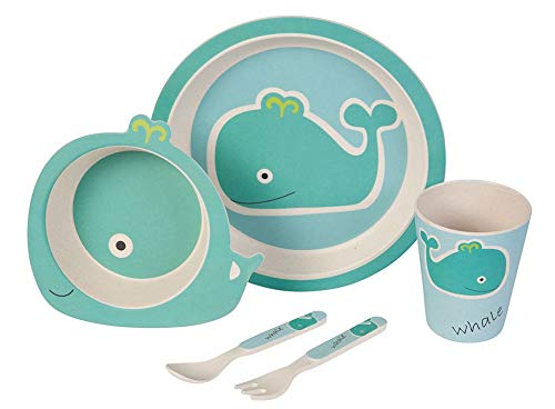 Naturally Chic Bamboo Fiber Kids Dish Set (Blue Whale)
