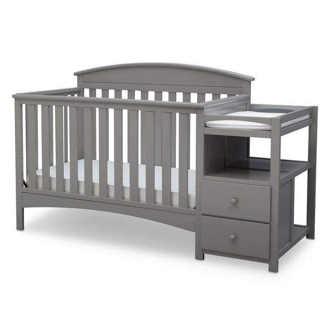 Delta Children Abby Convertible Crib and Changer, Grey