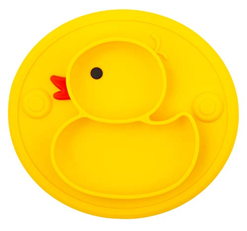 Baby Divided Plate Silicone- Portable Non Slip Child Feeding Plate with Suction Cup for Children Babies and Kids (Duck-Yellow)