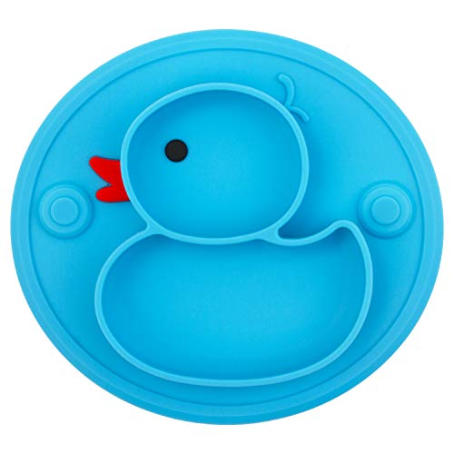 Baby Divided Plate Silicone- Portable Non Slip Child Feeding Plate with Suction Cup for Children Babies and Kids (Duck-Blue)