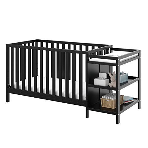 Storkcraft Pacific 4-in-1 Convertible Crib and Changer, Black