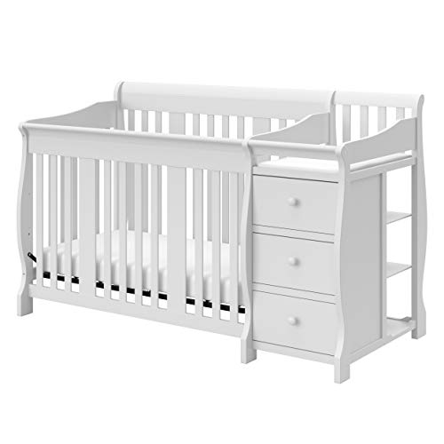 Storkcraft Portofino 4-in-1 Fixed Side Convertible Crib and Changer, White