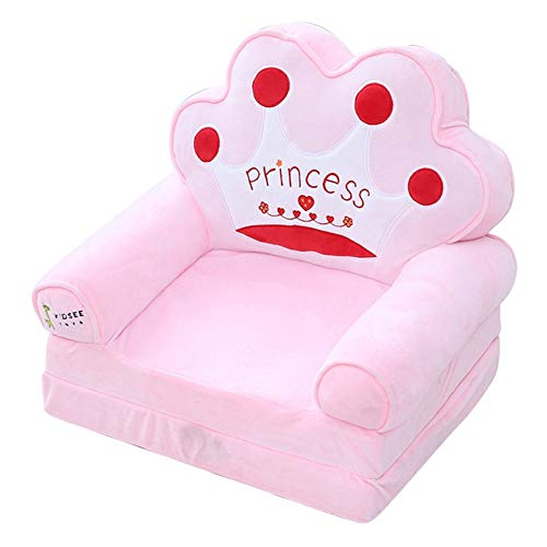Trycooling 2-in-1 Flip Open Soft Plush Children Sofa Backrest Chair (Pink)