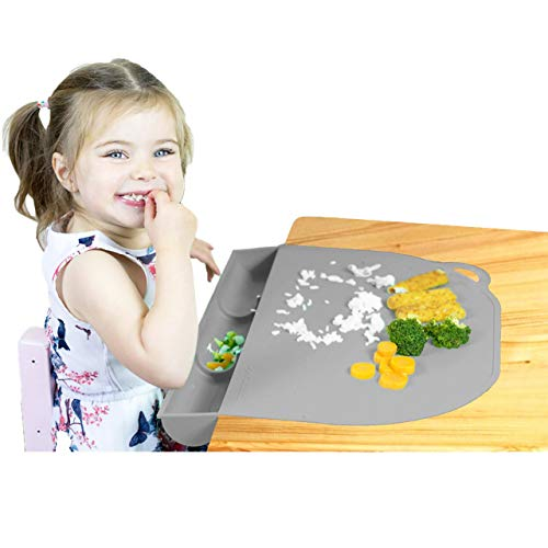 UpwardBaby Food Catching Baby Placemat with Suction Gray Silicone Placemats for Kids Babies and Toddlers