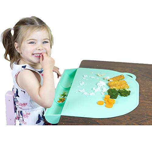 UpwardBaby Food Catching Baby Placemat with Suction Mint Silicone Placemats for Kids Babies and Toddlers