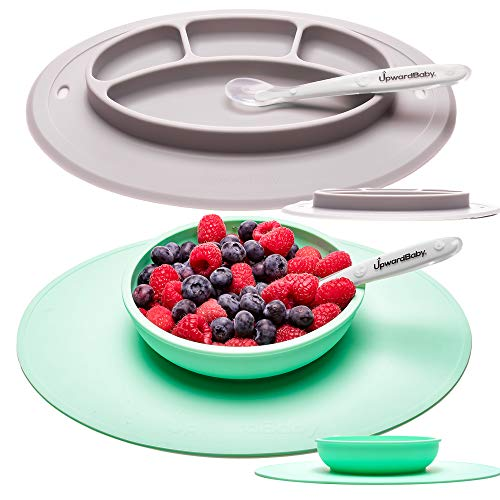UpwardBaby Toddler Plate and Bowl Set with Suction for Kids Silicone Non Slip Baby Feeding Set Placemats with Spoons