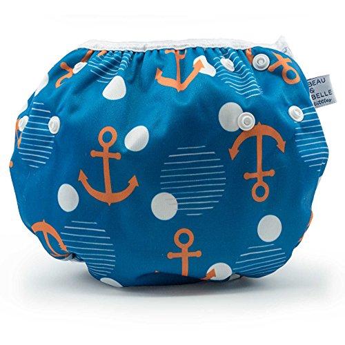 Beau & Belle Littles Eco-Friendly Reusable Swim Diaper Sizes 4- 6 (Anchors)